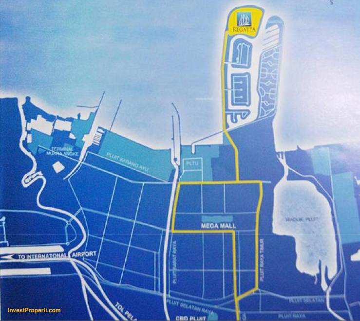 Peta Lokasi Apartemen Regatta Pantai Mutiara