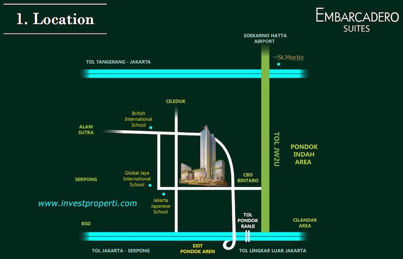 Peta Lokasi Embarcadero Suites Bintaro