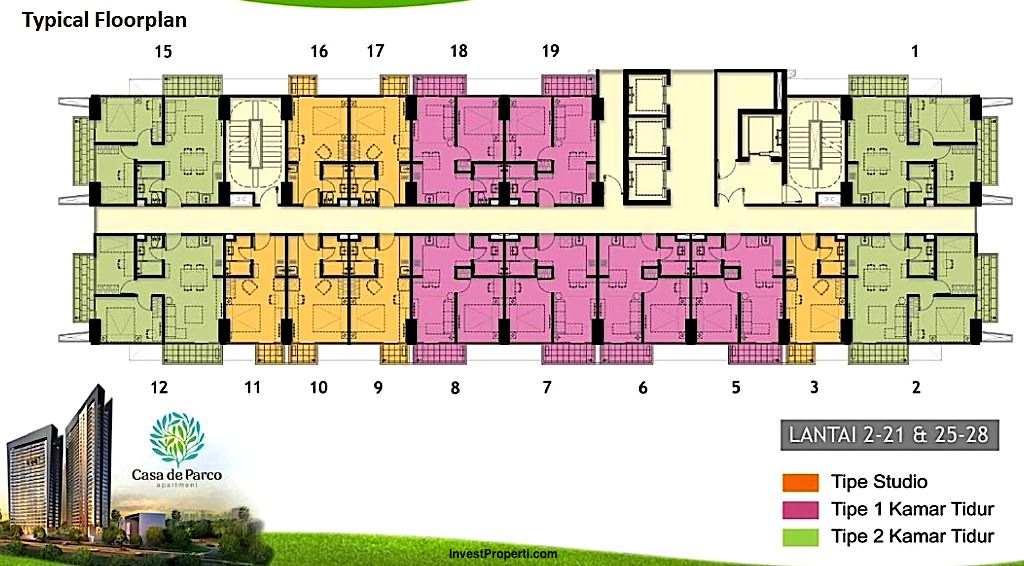 Floorplan Tower Orchidea Apartemen Casa De Parco