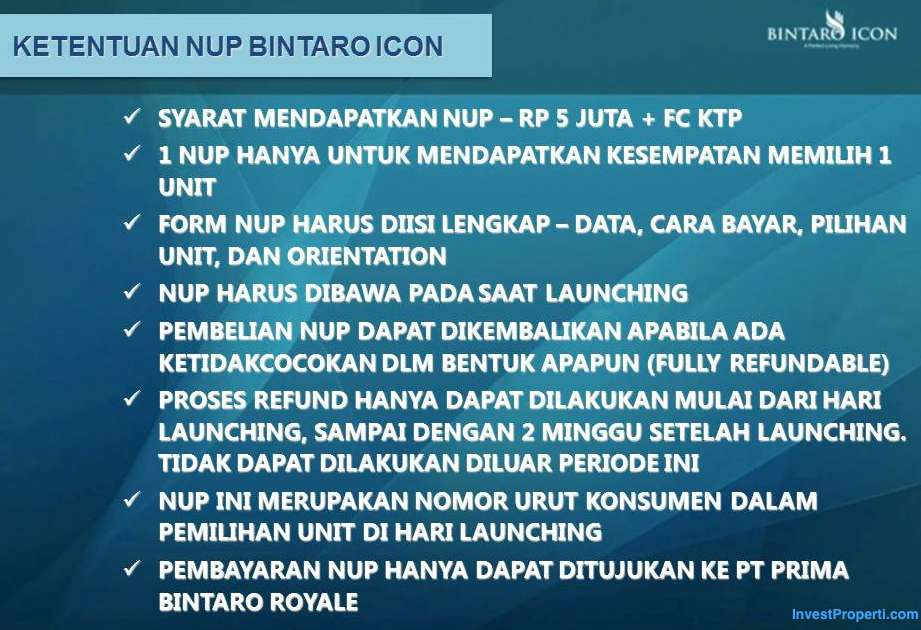 Ketentuan NUP Bintaro Icon