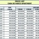 Price List Apartment Casa de Parco Bsd