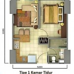 unit plan tipe 1br Tower Orchidea apartment Casa de Parco Bsd