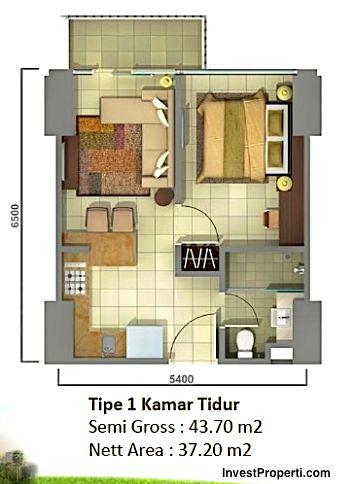 unit plan tipe 1br Tower Orchidea apartment Casa de Parco Bsd