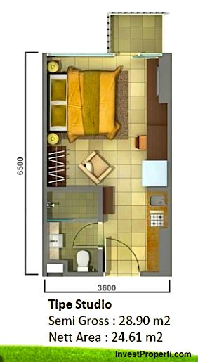 Unit Plan Studio Tower Orchidea apartemen Casa de Parco BSD