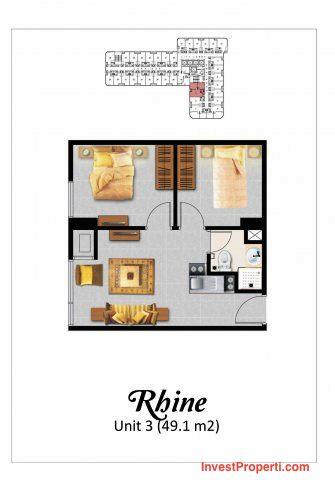 Tipe 2BR Rhine Apartemen Grand Eschol Karawaci