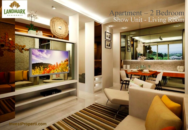 Design living room landmark residence apartemen 2 br for Design interior apartemen 1 bedroom