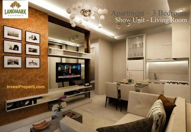 Design living room landmark residence apartemen 3 br for Br interior designs