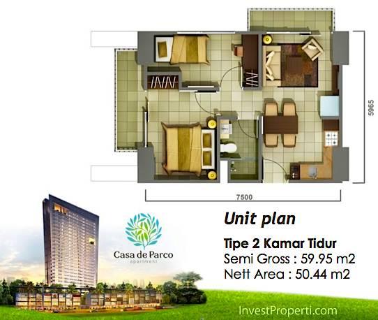 Tipe 2 BR Casa de Parco Apartment Tower Magnolia