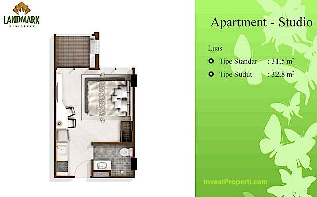 Tipe Studio Landmark Residence Apartment Bandung