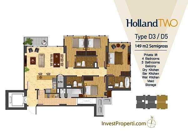 Tipe Unit Holland Two D3 / D5 Holland Village Apartemen