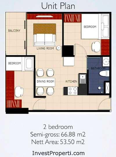 Tipe 2BR Apartemen Brooklyn Alam Sutera