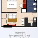 Tipe 1BR Apartemen Brooklyn Alam Sutera