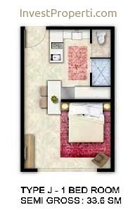 Tipe Unit 1 Bedroom - ForesQue Residence