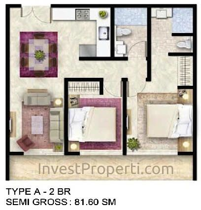 Tipe Unit 2 BR A - ForesQue Residence