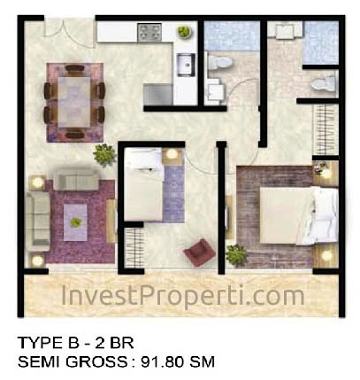 Tipe Unit 2 BR B - ForesQue Residence