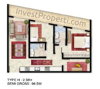 Tipe Unit 2 BR Plus - ForesQue Residence