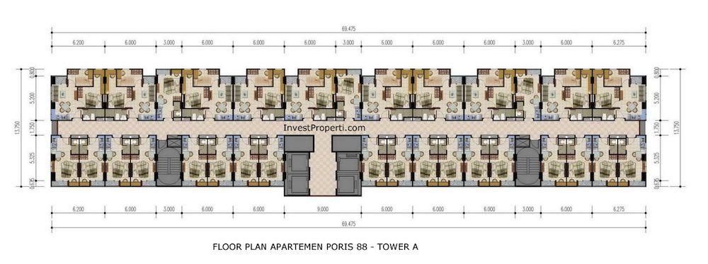 Floor Plan Apartemen Poris 88 Tower A