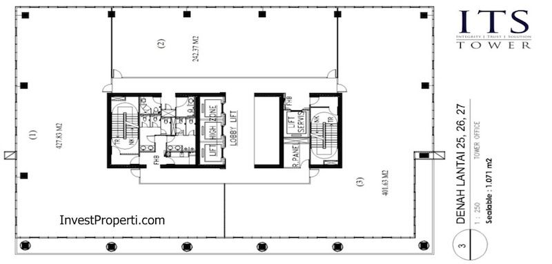 ITS Office Tower Floor Plan Lantai 25 26 27