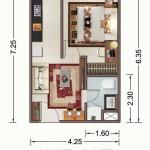 Tipe Unit 1 BR Vittoria Residence Daan Mogot