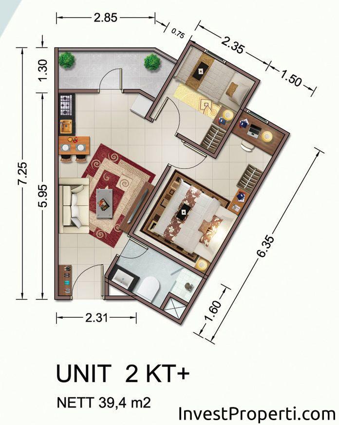 Tipe Unit 2 Kamar Plus Vittoria Residence Daan Mogot