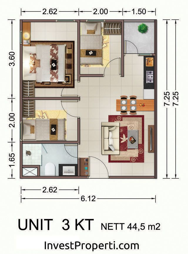 Tipe Unit 3 BR Vittoria Residence Daan Mogot
