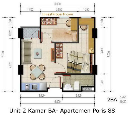 Unit 2 Kamar BA - Apartemen Poris 88
