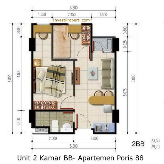 Unit 2 Kamar BB - Apartemen Poris 88
