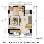 Unit 2 Kamar BCB - Apartemen Poris 88