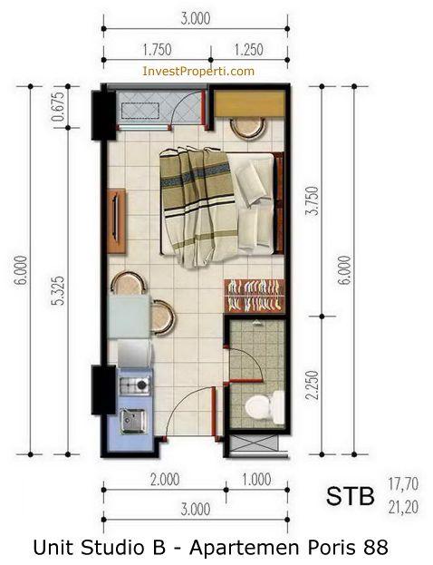 Unit Studio B Apartemen Poris 88