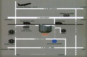 peta lokasi Poris 88 apartemen