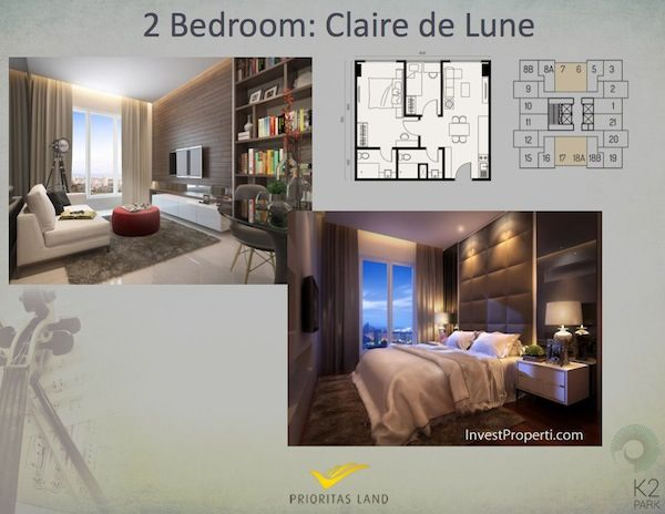 Tipe 2BR Claire de Lune Apartemen K2 Park Gading Serpong