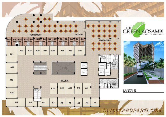 Denah Lantai 5 Apartemen Green Kosambi Bandung