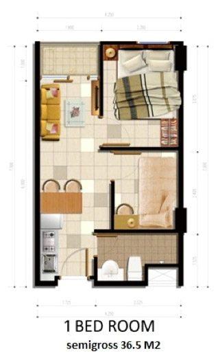 Tipe Unit 1BR Apartemen Parkland Avenue BSD