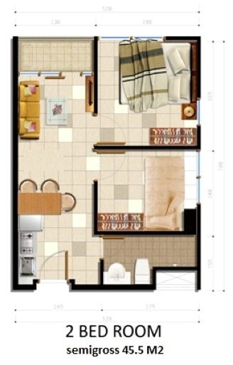 Tipe Unit 2BR Apartemen Parkland Avenue BSD