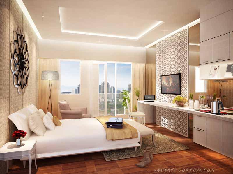 interior design kamar studio Puri Orchard Apartment