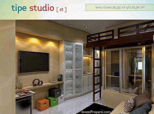 Contoh Design Tipe Studio Apartemen Spring Lake Bekasi