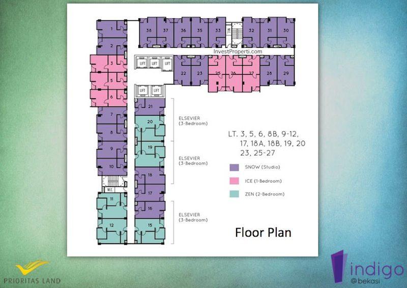 Floor Plan Indigo Bekasi Apartemen Lt 3 5 6 x