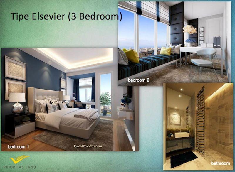 Tipe Elsevier 3BR Indigo Bekasi Apartment - Bedrooms