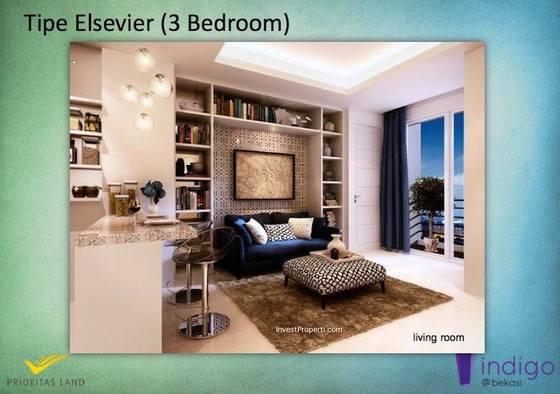 Tipe Elsevier 3BR Indigo Bekasi Apartment - Living Room