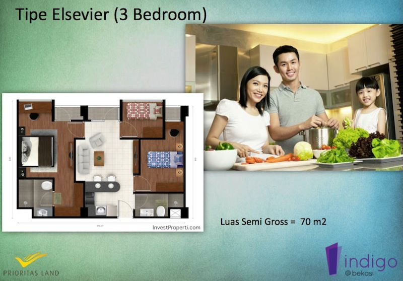 Tipe Elsevier 3BR Indigo Bekasi Apartment