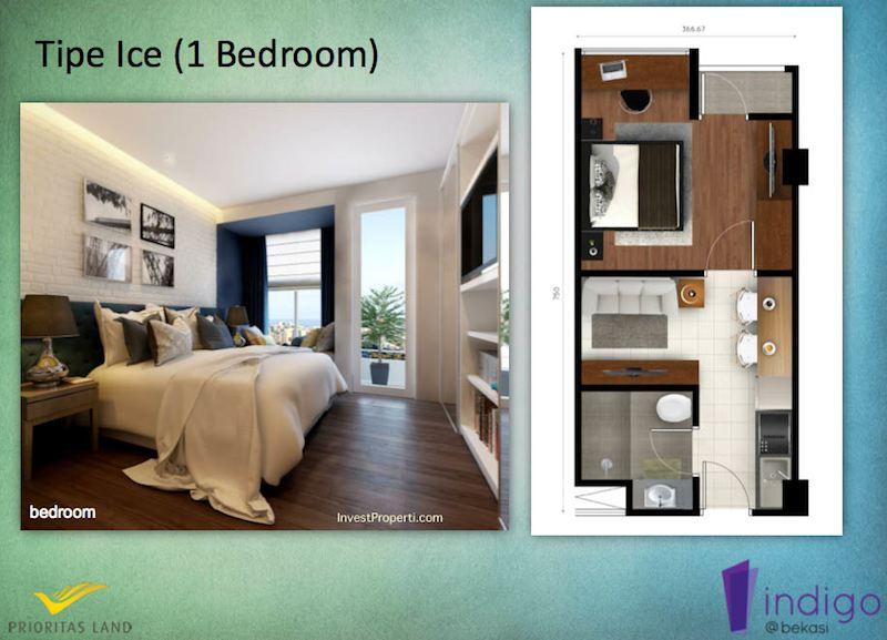 Tipe Ice 1BR Indigo Bekasi Apartment - Bedroom
