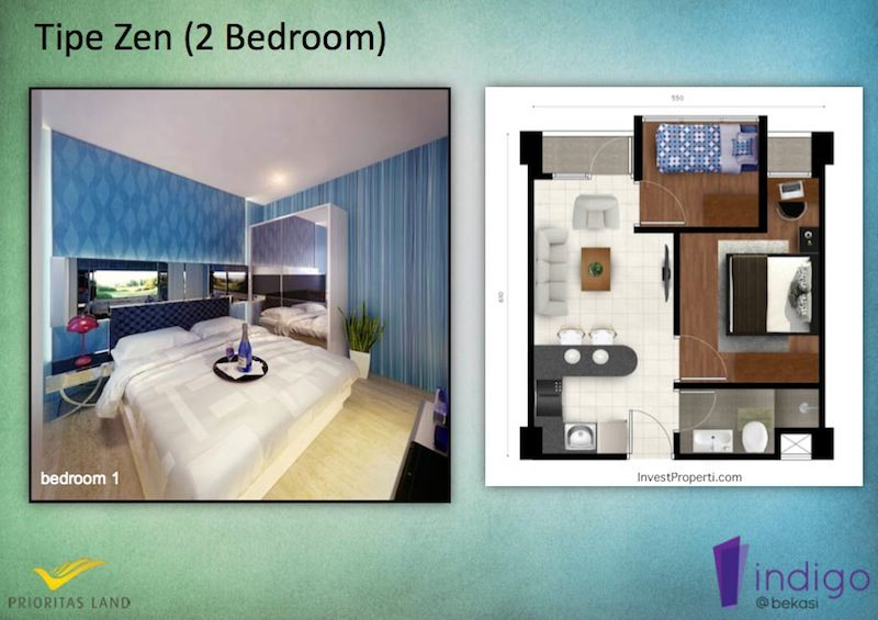 Tipe Zen 2BR Indigo Bekasi Apartment - Bedroom 1