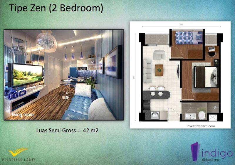 Tipe Zen 2BR Indigo Bekasi Apartment - Living Rooms