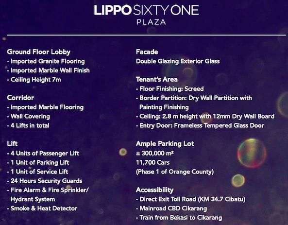 Lippo 61 Cikarang Building Spek