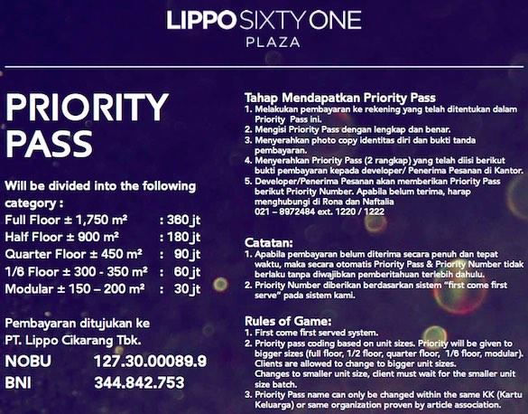 Lippo 61 Cikarang Priority Pass