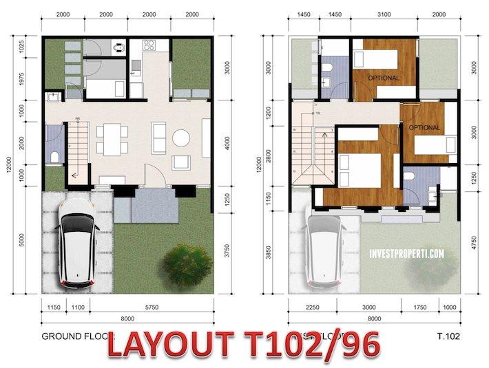 Denah Lantai Rumah Vivacia BSD Tipe 96