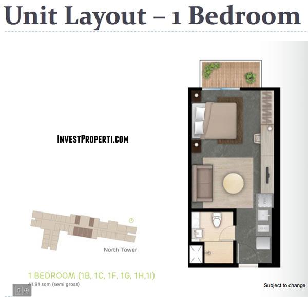 Tipe 1BR West Vista Apartemen