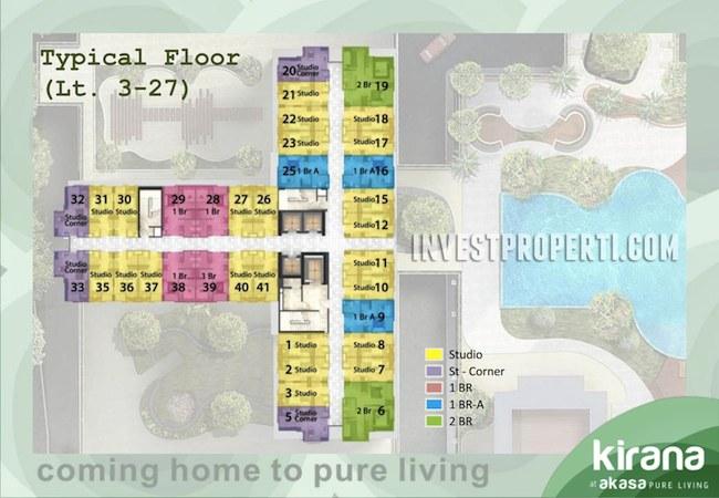Floor Plan Apartemen Akasa Pure Living Lt 3-27