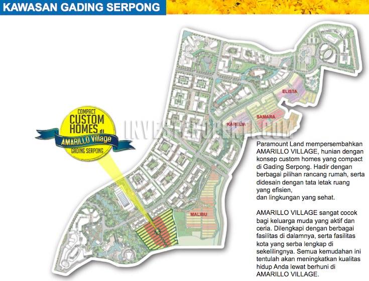 Peta Lokasi Amarillo Village Paramount Gading Serpong