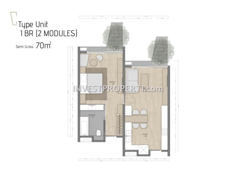 Denah 1BR Carstensz Residence BSD